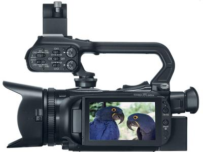 Canon XA20 HD Camcorder Left side view, with LCD rotated outward for