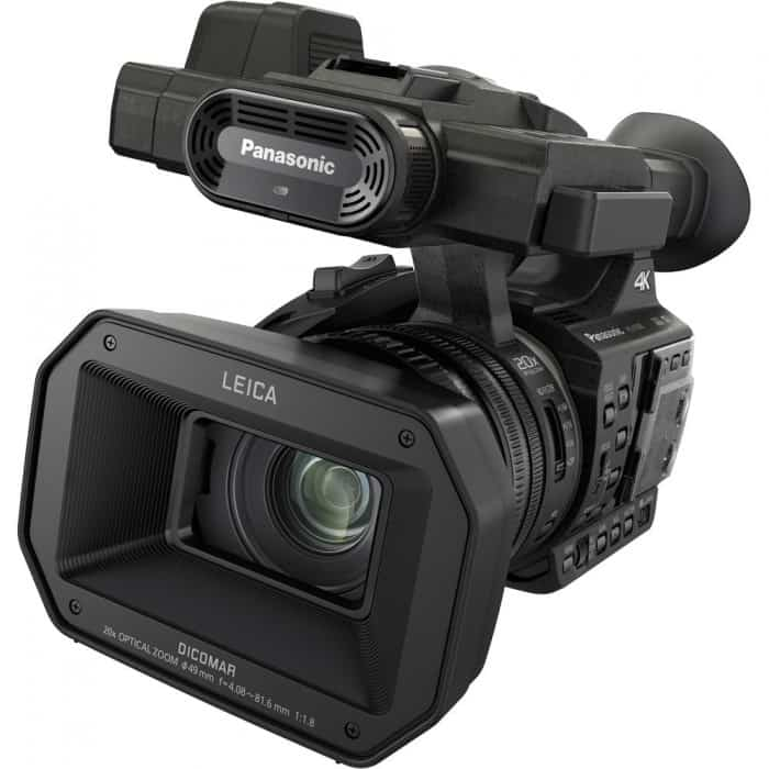 The HC-X1000 is a traditional camcorder form factor with a tilt-up