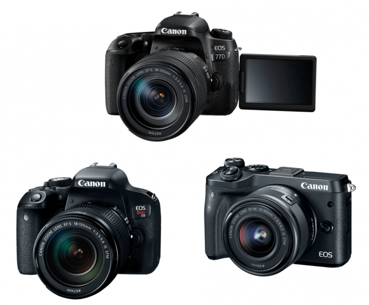 Canon EOS Rebel T7i, Canon EOS 77D, Canon EOS M6