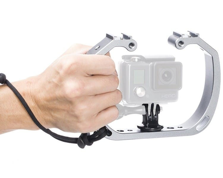 Movo GB-U70 Underwater Diving Rig with Cold Shoe Mounts & Wrist Strap for GoPro HERO. HERO3, HERO4, HERO5, HERO6 and other Waterproof Action Cams